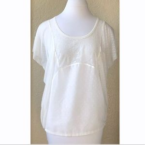 Free People ivory lace sheer top draped